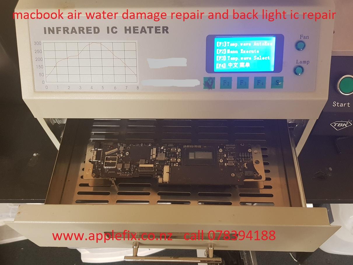 macbook air water damage and back light ic repair